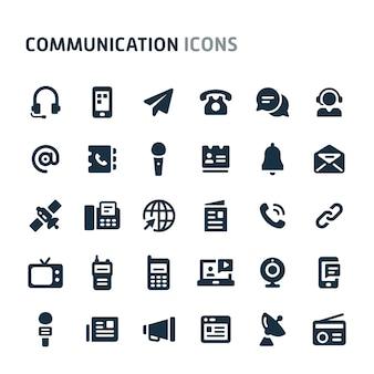 Jeu d'icônes de communication. série d'icônes fillio black.