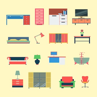 Jeu d'icônes de concept d'application web mobilier créatif moderne style plat