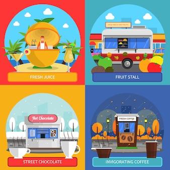 Jeu d'icônes de concept de nourriture de rue