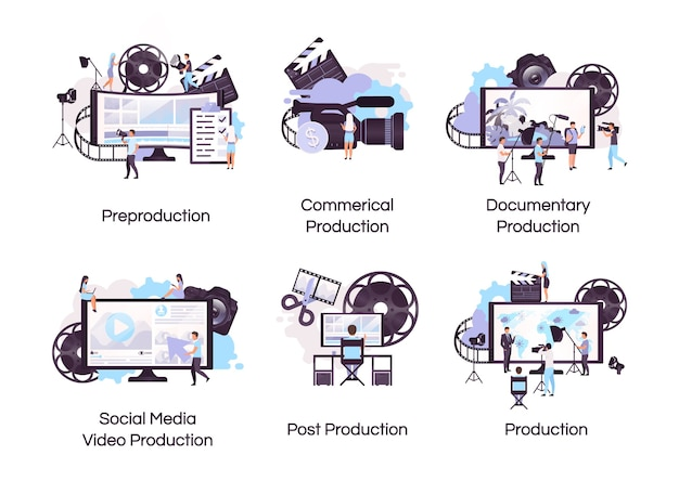 Jeu d'icônes de concept plat de production vidéo. autocollants de vidéographie et de réalisation de films, pack de cliparts. publicité sur les réseaux sociaux, tournage de documentaires. illustrations de dessin animé isolés sur fond blanc