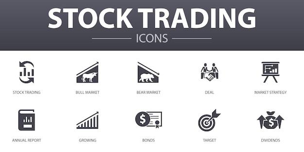 Jeu d'icônes de concept simple de négociation d'actions. contient des icônes telles que le marché haussier, le marché baissier, le rapport annuel, la cible et plus encore, pouvant être utilisées pour le web, le logo, l'interface utilisateur/ux