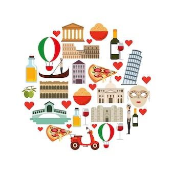 Jeu d'icônes. conception de la culture de l'italie. graphique de vecteur