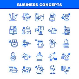 Jeu d'icônes de concepts commerciaux