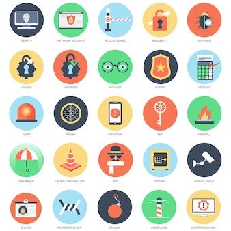 Jeu d'icônes conceptuel plat de sécurité web
