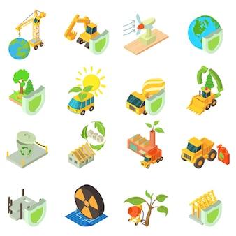 Jeu d'icônes de construction éco