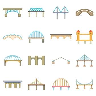 Jeu d'icônes de construction de pont