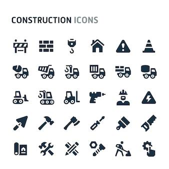 Jeu d'icônes de construction. série d'icônes fillio black.