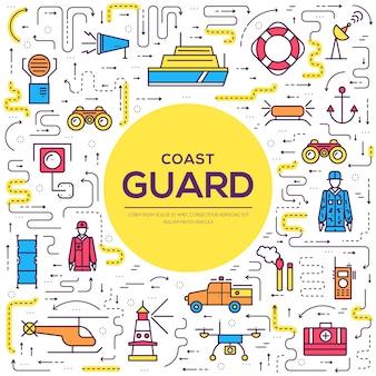 Jeu d'icônes de contour de la garde côtière jour illustration vectorielle