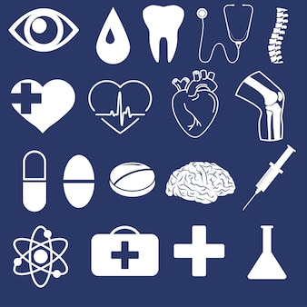 Jeu d'icônes de contour médical. coeur humain, genou, organe cérébral. symbole de l'anatomie, seringue. signe de style linéaire de cardiologie. dessin au trait des yeux. graphiques vectoriels