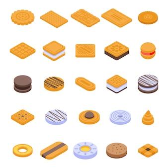 Jeu d'icônes de cookies, style isométrique