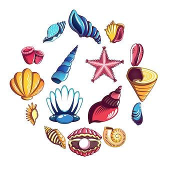 Jeu d'icônes de coquille de mer tropicale, style cartoon