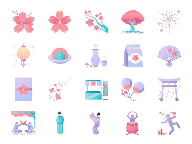 Jeu d'icônes de couleur festival de fleurs de cerisier.
