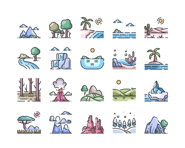 Jeu d'icônes de couleur paysage contour