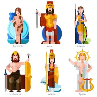 Jeu d'icônes de couleur plat pour les dieux olympiques