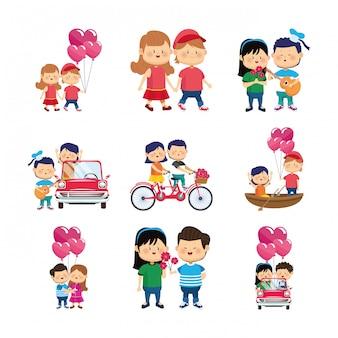 Jeu d'icônes de couples heureux avec des cadeaux