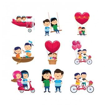 Jeu d'icônes de couples heureux de dessin animé
