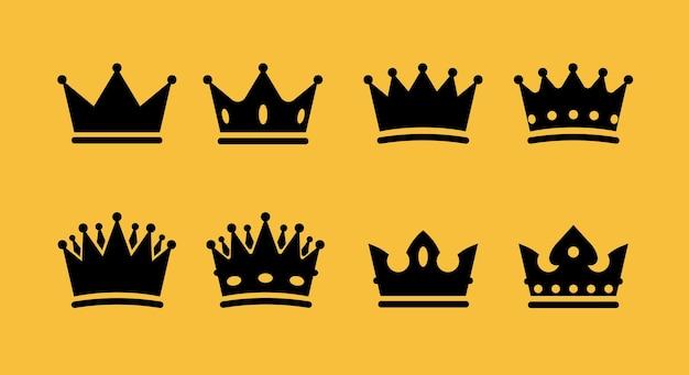 Jeu d'icônes de couronne collection de symboles de couronne de vecteur
