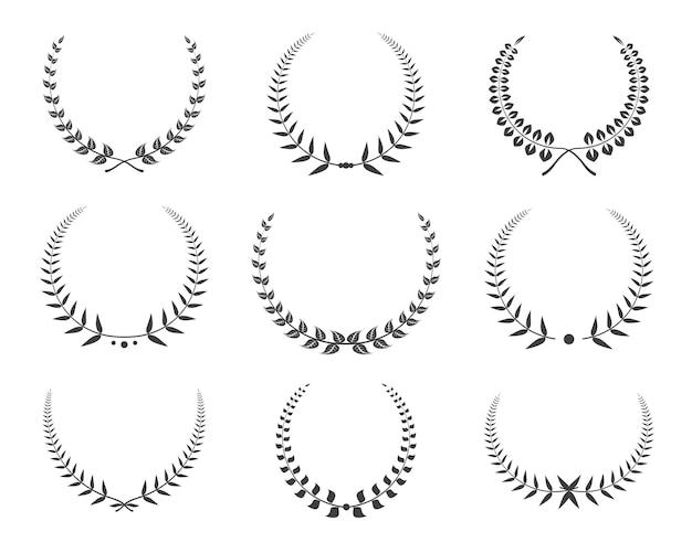 Jeu d'icônes de couronnes de laurier noir.