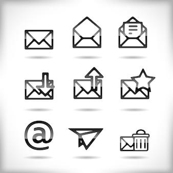 Jeu d'icônes de courrier électronique noir