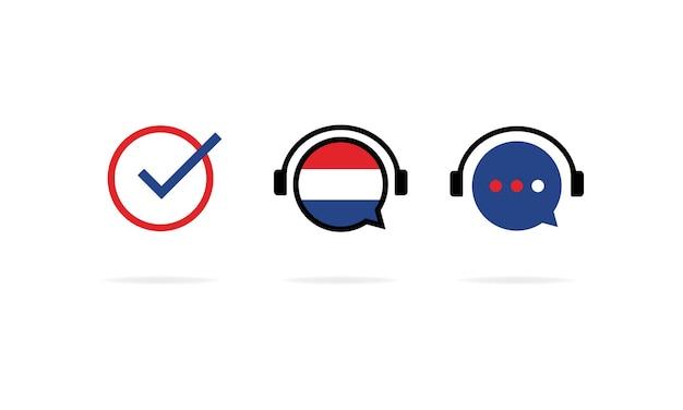 Jeu d'icônes de cours de néerlandais en ligne. étude des langues à distance. vecteur