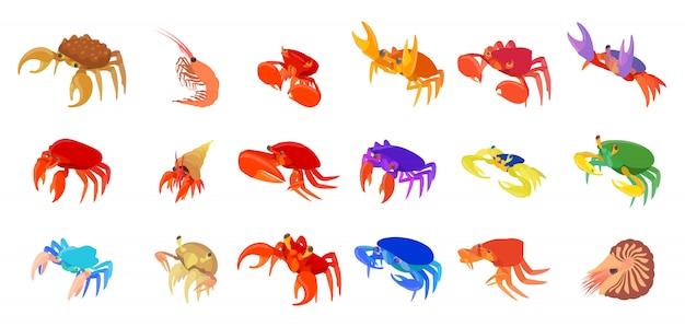 Jeu d'icônes de crabes
