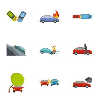 Jeu d'icônes de crash de voiture, style cartoon
