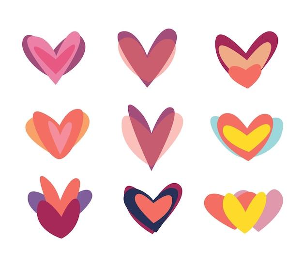 Jeu d'icônes créatif coeurs rouges. modèle de symbole de signe de saint valentin. conception plate. carte de voeux d'amour. style de conception.