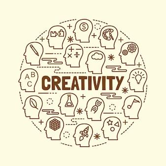 Jeu d'icônes de créativité mince ligne mince