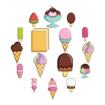 Jeu d'icônes de crème glacée douce, style cartoon