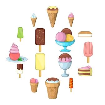 Jeu d'icônes de crème glacée, style cartoon