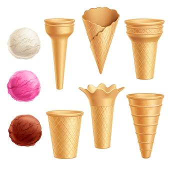 Jeu d'icônes de crème glacée