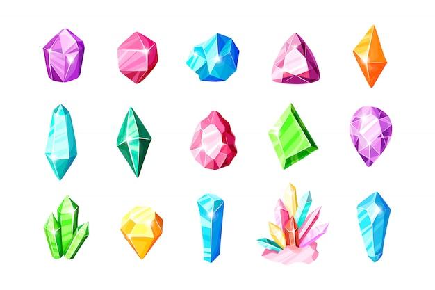 Jeu d'icônes - cristaux ou gemmes colorées bleues, dorées, roses, violettes, arc-en-ciel