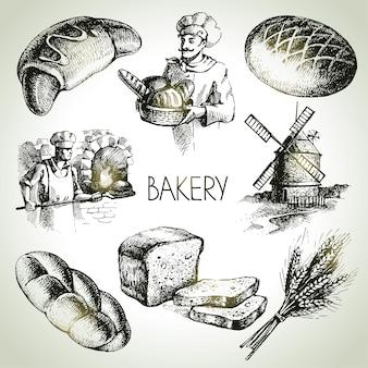 Jeu d'icônes de croquis de boulangerie. illustrations dessinées à la main vintage