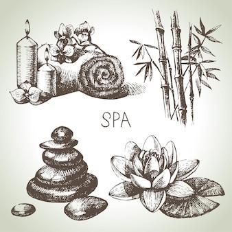 Jeu d'icônes de croquis de spa. illustrations dessinées à la main vintage de beauté