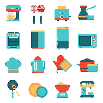 Jeu d'icônes de cuisine appareils