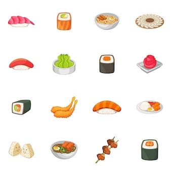 Jeu d'icônes de cuisine japonaise