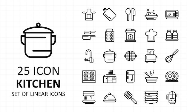 Jeu d'icônes de cuisine linéaire