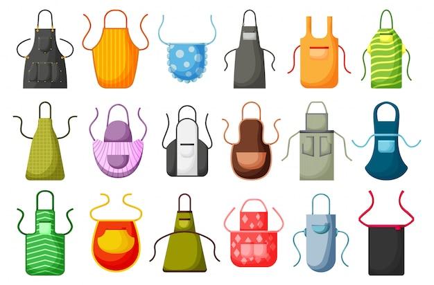 Jeu d'icônes de cuisine tablier vecteur dessin animé. ensemble de dessin animé isolé cuisinier uniforme