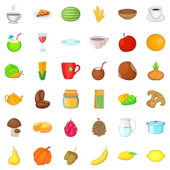 Jeu d'icônes de cuisine végétarienne, style cartoon