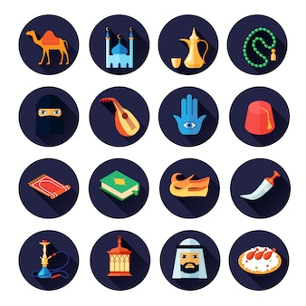 Jeu d'icônes de culture arabe