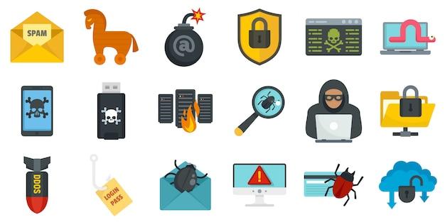 Jeu d'icônes de cyberattaque
