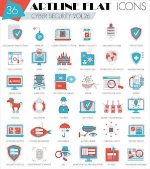 Jeu d'icônes de cybersécurité ligne plate