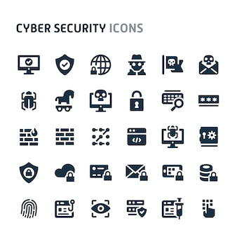 Jeu d'icônes de cybersécurité. série d'icônes fillio black.