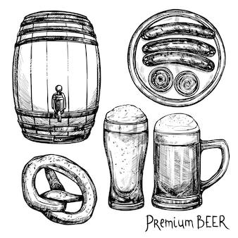 Jeu d'icônes décoratives de croquis de bière