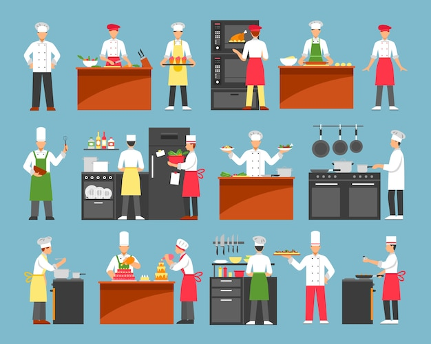 Jeu d'icônes décoratives de cuisine professionnelle