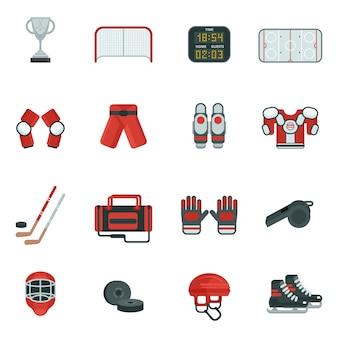 Jeu d'icônes décoratives de hockey