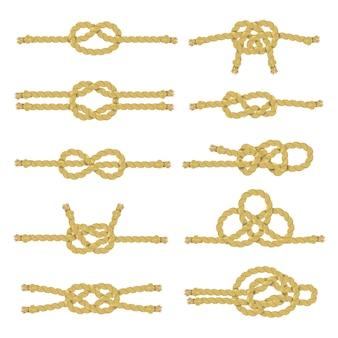 Jeu d'icônes décoratives de noeud de corde