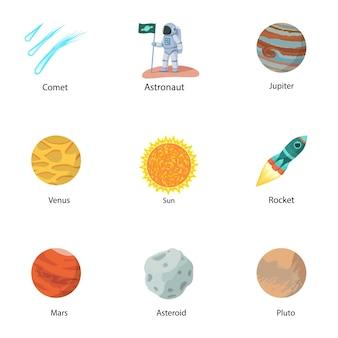 Jeu d'icônes de découverte de l'espace. ensemble plat de 9 icônes de découverte de l'espace