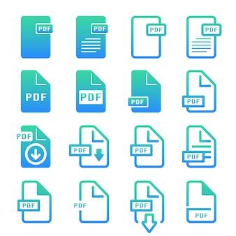 Jeu d'icônes de dégradé de fichier pdf simple, vecteur et illustration
