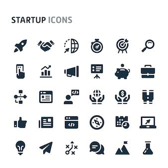 Jeu d'icônes de démarrage. série d'icônes fillio black.